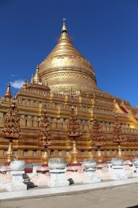 Gleaming golden stupa close up
