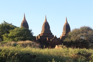 Three stupa towers with scrub forest trees on all sides