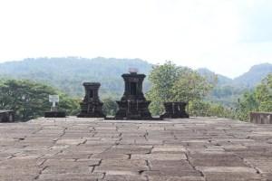 Remains of stone shrines on a platform on a plateau