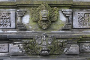 Demonic face carved on temple