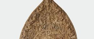 Detail, stele with Bodhisattva Maitreya (Mile); Buddhist tablet