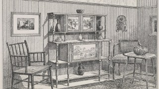 Drawing of a lavishly decorated drawing room cabinet sideboard