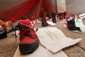 Red shoe with note