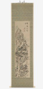 hanging scroll with black ink design of mountain