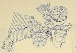 blue ink sketch of a man's head