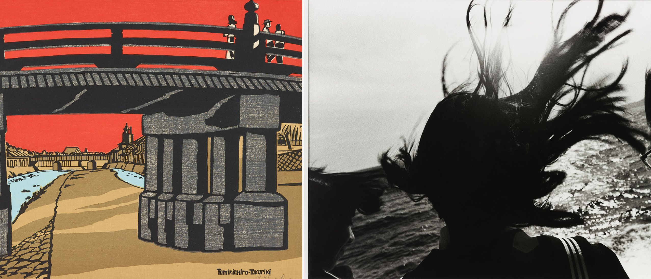 left, print on paper of a bridge against a bright red backdrop; right, black and whtie photo of girls with their hair flying in the wind.