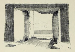 sketch of opening with two pillars