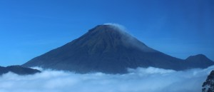 Volcano top through the clouds