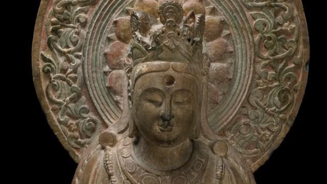 Sculpture of a seated Bodhisattva