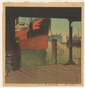 the bow of a large, black and red boat looms; in the left foreground, a person cloaked in black stands by a pillar on the roofed dock, looking out at the ship; other boats and a faint skyline can be seen in the distance
