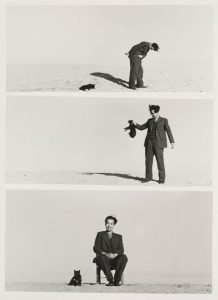 3 black and white photos stacked vertically, the first image of a man in a suit with a cat on a leash, lying down; the man holding the cat by the collar; the man sitting with the cat