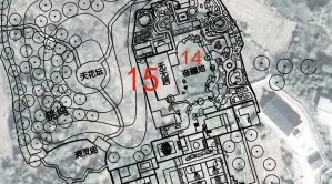 site plan showing buildings and architecture with red 14 and 15 denoting specific locations