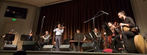 Simon Shaheen and his ensemble performing in the Freer's Meyer Auditorium.