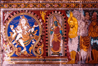 Nataraja with Parvati being worshiped by sages.