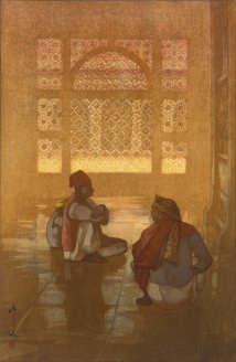 two figures seated on ground in front of a large window