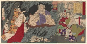white-haired bearded figure in center surrounded by spirits
