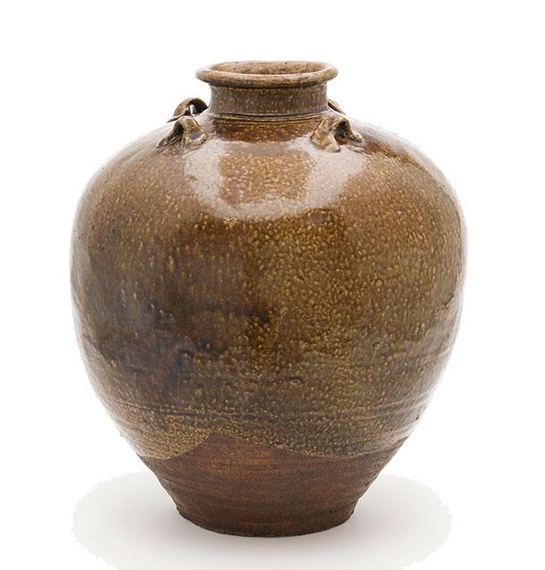 Brown ceramic tea jar