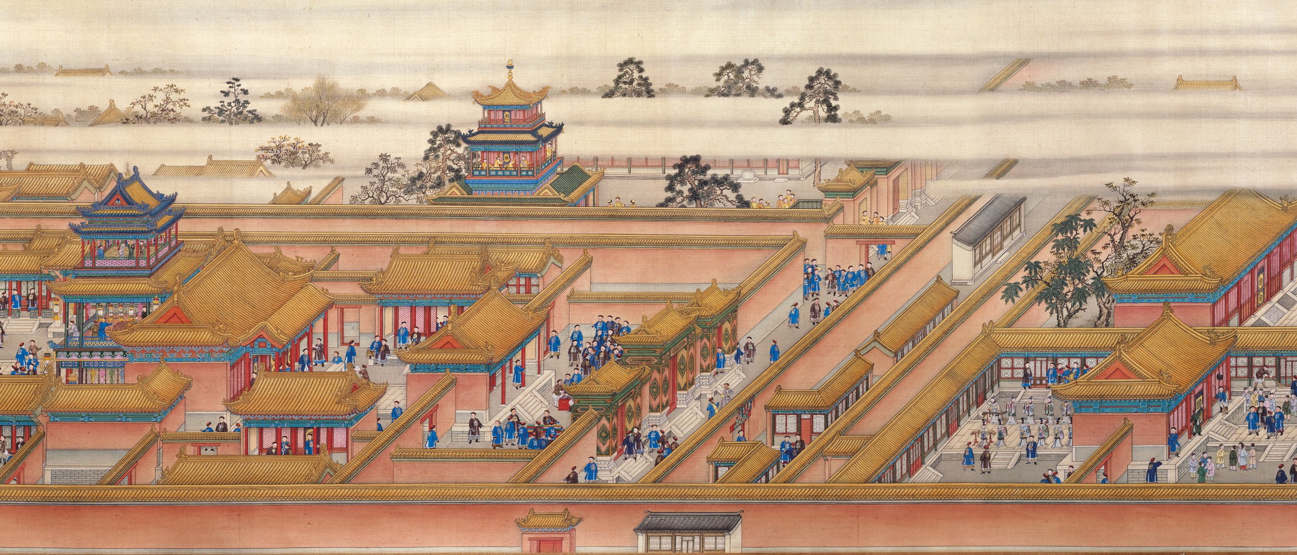 handscroll depicting a royal birthday celebration in the palace compound