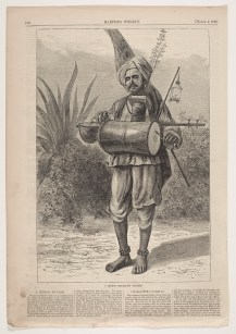 Engraving of a Hindu mendicant pilgrim on a page from Harper's Weekly