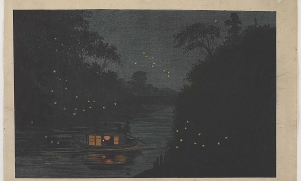 A roofed pleasure boat slowly floats down the water at twilight. The cabin of the boat emits warm light, and fireflies spangle the air surrounding it.