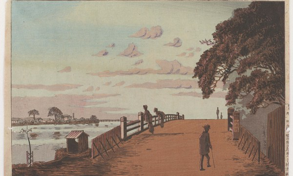 A figure of the modern, well-to-do flaneur looks at two women absorbed by the view of the evening sky and of the other side of the river.