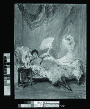 infrared of a painting of a woman reclined on a chaise lounge holding a fan