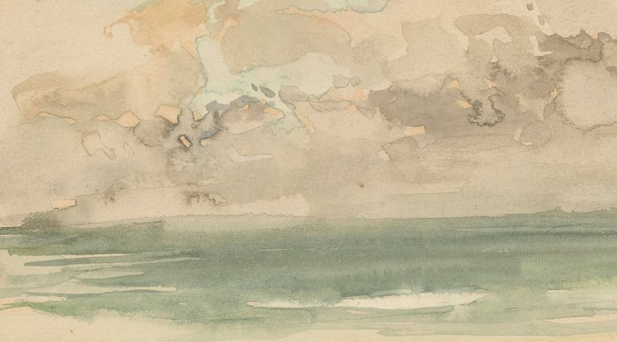 watercolor splotches of blue and grey skies swirling above greenish waves of the sea