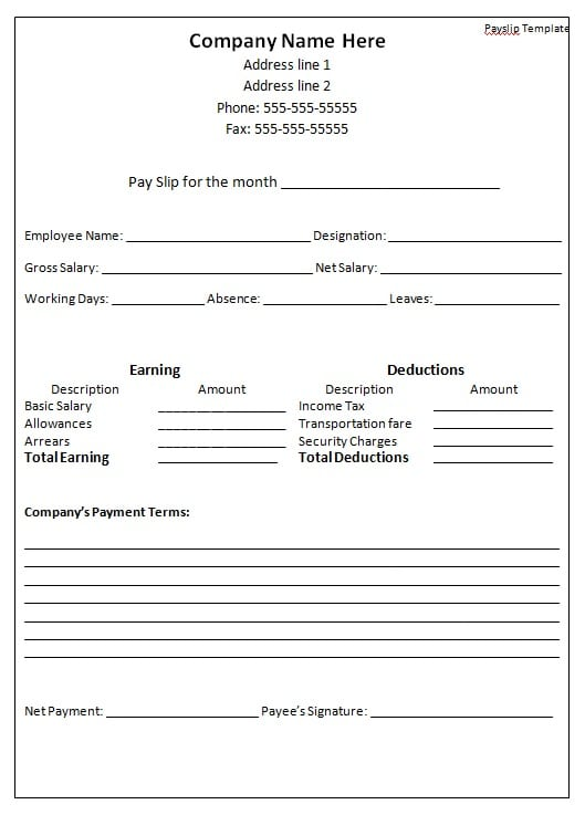 Payslip Format Word And Excel  Employee Salary Slip Sample