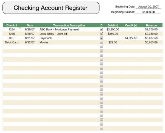 account register template