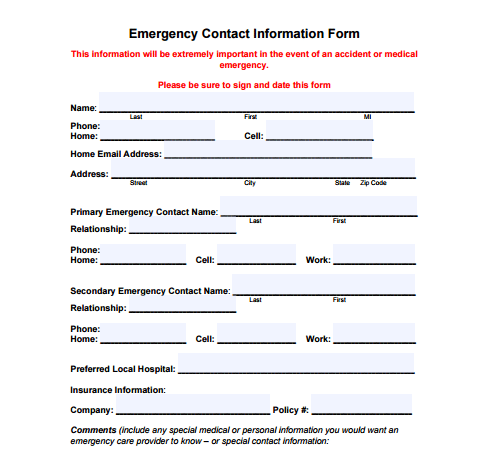 Awesome Emergency Contact Info Form. Contact Information Template 1641 Intended Contact Information Form Template