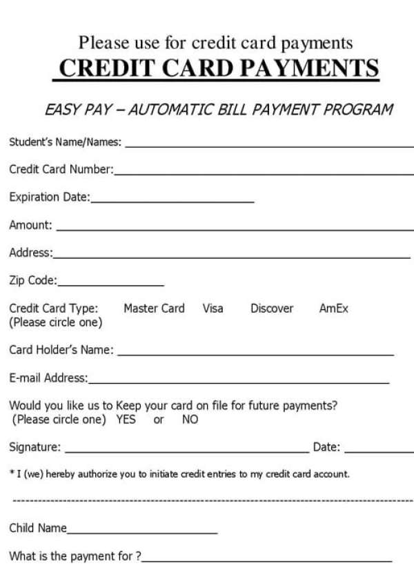 Credit Card Payment Authorization Form Sample  BesikEightyCo