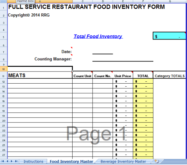 microsoft excel inventory template