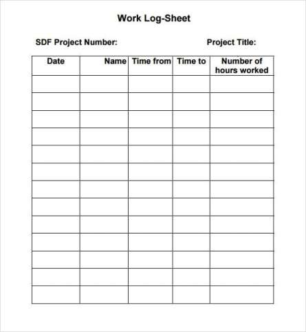Log Sheet Templates  Formats Examples In Word Excel