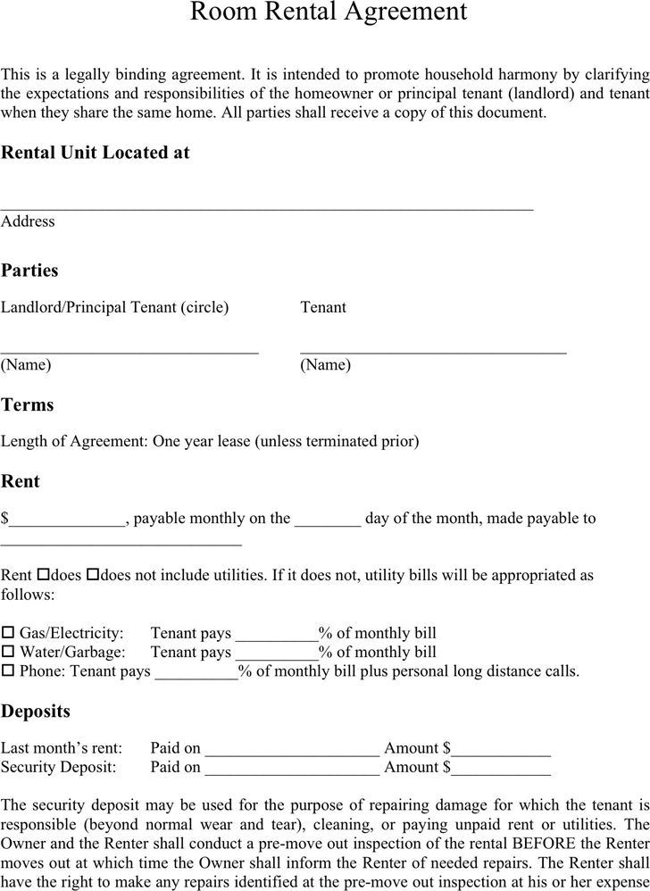 Weekly Room Rental Agreement Template