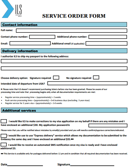 Service Order Form Template  Order Templates