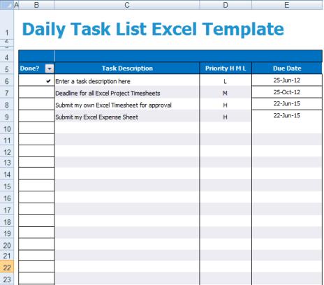 5 task list templates formats examples in word excel. Black Bedroom Furniture Sets. Home Design Ideas