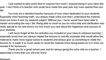 an appreciation letter