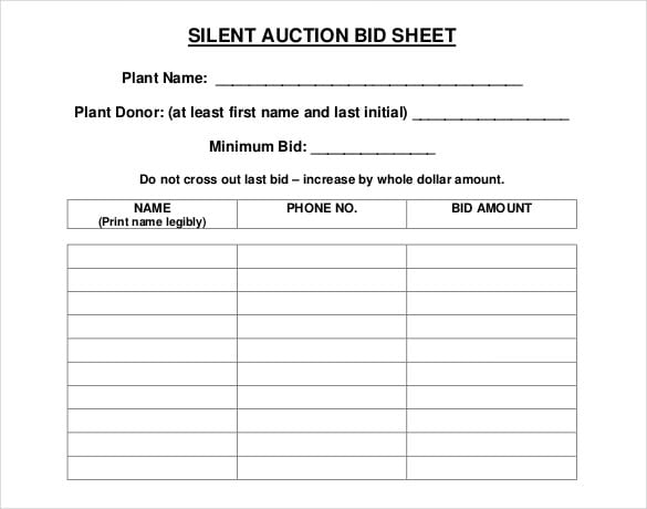 5 auction bid sheets templates formats examples in word for Auction spreadsheet template