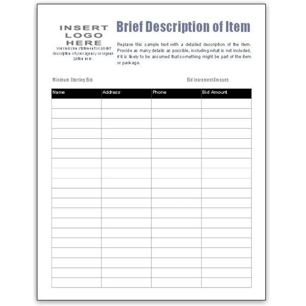 5 auction bid sheets templates formats examples in word excel. Black Bedroom Furniture Sets. Home Design Ideas