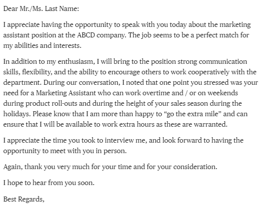 follow up email phone interview