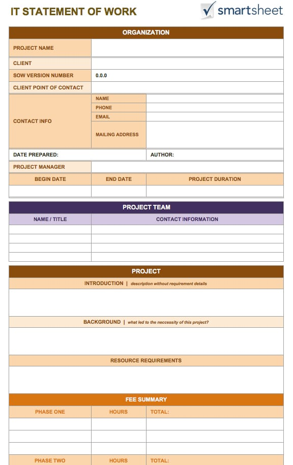 statement of works template - 5 statement of work templates word formats examples in