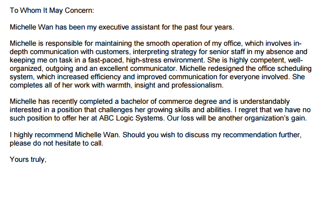 recommendation letter for work