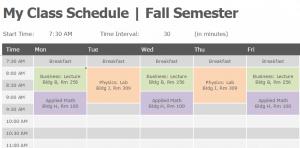 Class Schedule Template - Word Excel