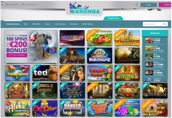 Karamba casino Games to play
