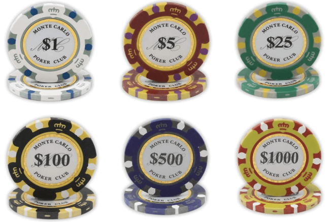 Poker chip values in tournaments and cash games