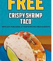 Free Crispy Shrimp Taco of Muffin Sandwich with Purchase at Del Taco
