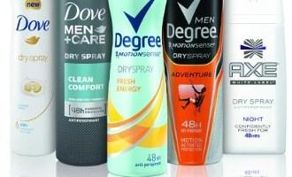 Free Samples of Dove, Degree or Axe Men's Body Spray Deodorant