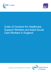 Code of Conduct for healthcare support workers