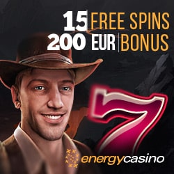 Energy Casino 15 gratis spins + 150% up to €400 bonus + 55 free spins
