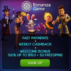 Bonanza Game Casino 150 free spins and 350% welcome bonus